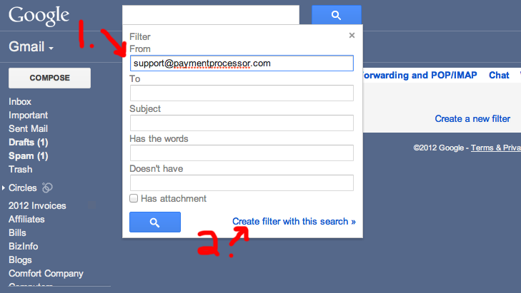 Creating a filter in Gmail for Specific Email Addresses