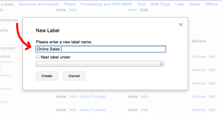 Creating a new Label in Gmail for Individual Ringtones