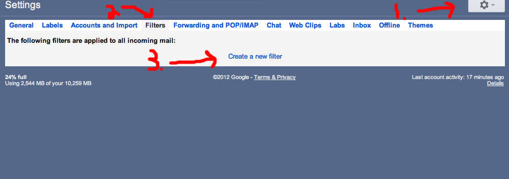 Create a New Filter in Gmail for Ringtones