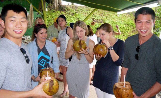 Drinking Rum out of coconuts