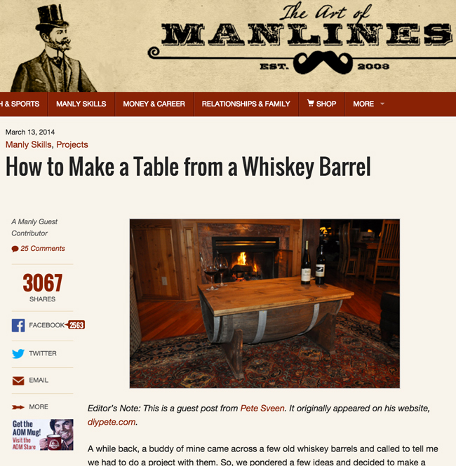 DIY PETE Whiskey barrel table