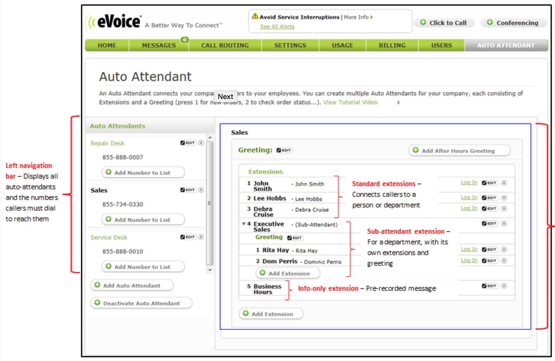 Our standard eVoice solution includes an eVoice number so you can place and receive calls, auto attendant, virtual receptionist capabilities and more. eVoice Live Receptionist combines the power of the standard eVoice solution with the premium service of a team of Live Receptionist to answer your calls and handle administrative tasks for you.