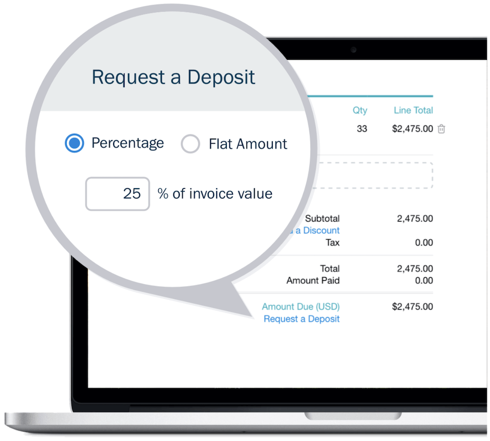 Freshbooks vs Quickbooks Request a Deposit