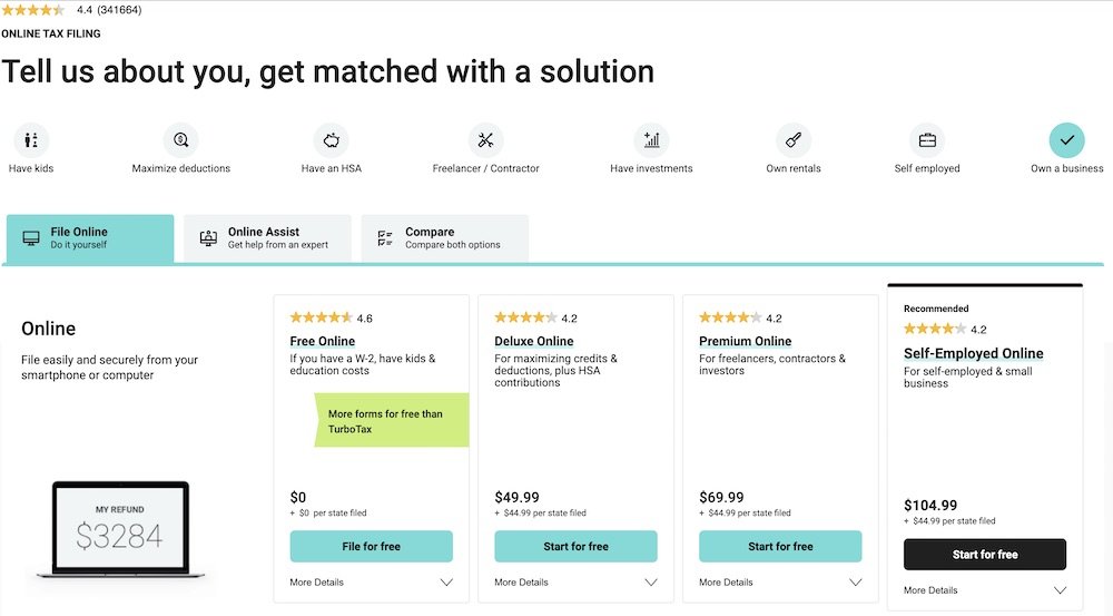 H&R Block tax software for entrepreneurs solution and packages pricing