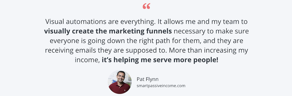 Pat Flynn quote about ConvertKit email marketing funnels