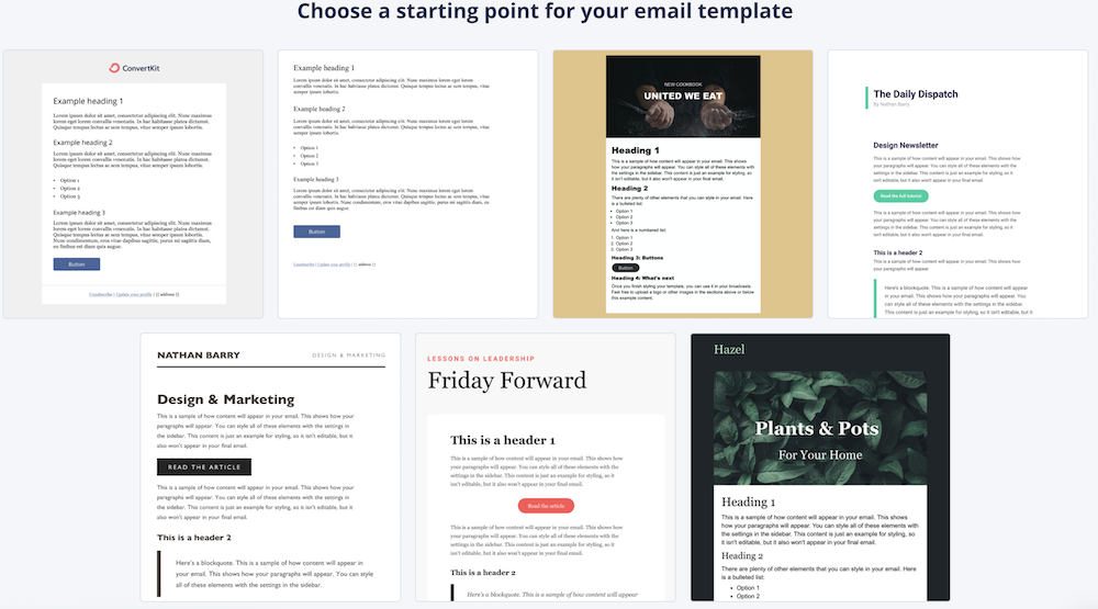 ConvertKit email templates